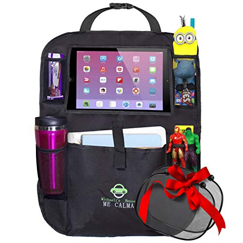 Car Backseat Organizer Tablet/Ipad Holder Up To 11 For Kids and Toddlers, Multipurpose Use - Kids Kick Mat, Auto Back Seat Protector, Car Organizer | Bonus: 2 Window Sun Shades - Road Trip Essentials