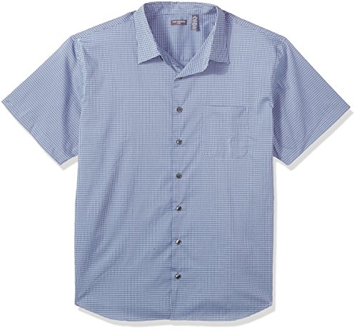 Van Heusen Men's Tall Flex Stretch Short Sleeve Non Iron Shirt, Plaid Blue Depths, 3X-Large - Tall Shirts Big Men And