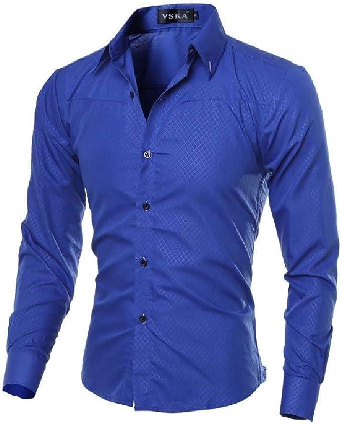 Vska Mens Solid Turn Down Collar Button-Up Long-Sleeve Western Shirt