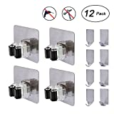 Flecom Mop Holder, Broom Holder Wall Mount with Adhesive Hooks Heavy Duty Wall Hooks Waterproof Wall Hangers for Kitchen Bathroom Wardrobe and Home, 12 Pack