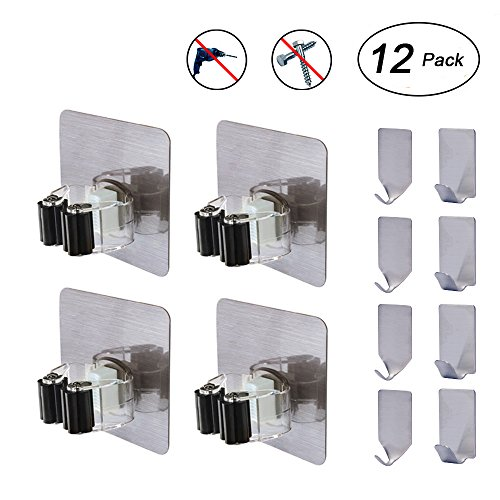 (Broom and Mop Hangers, Flecom Mop Holder with Adhesive Hooks Heavy Duty Hangers for brooms Wall Hooks Waterproof Wall Hangers for Kitchen Bathroom Wardrobe and Home (12 Pack))