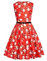 Kate Kasin Girls Sleeveless Vintage Print Swing Party Dresses 6-15 Years