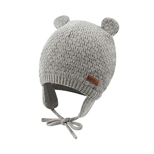 (Baby Beanie Hat for Winter with Earfalp Cute Bear Kids Toddler Girls Boys Warm Knit Cap for 0-3Years (Grey,)