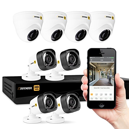 Defender HD 1080p 8 Channel Security System & 4 Dome & 4 Bullet Camera, White Camera, Black DVR - HD1T8D4B4