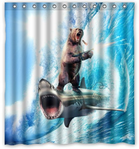 novelty shower curtains. Bear With Riding Shark Never Stop Dreaming Novelty Shower Curtain (66\u0026quot; Curtains E