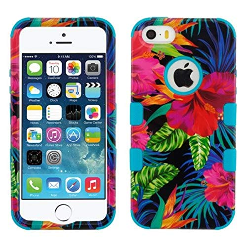 MyBat Cell Phone Case for iPhone 5S, iPhone SE, iPhone 5 - Electric Hibiscus/Tropical Teal Image