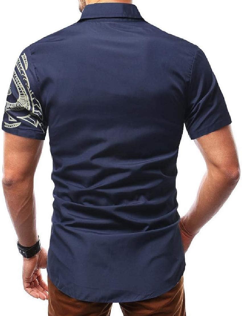 Wofupowga Mens Turn Down Printing Fashion Short Sleeve Tops Button Down Shirts