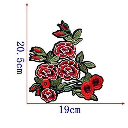 52a1b23bd94 1 pcs lot Brand Embroidered Patches Red Rose Big Flower Sequin Patch Iron  On Fabric Badge Sew On Clothes Appliques DIY Stickers   1 Piece  Amazon.in   Home   ...