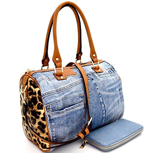Le Miel Ostrich Distressed Denim Leopard Accent Boston Satchel w/Strap + Wallet(Denim Light)