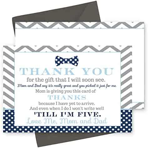 15 Bow Tie Thank You Cards with Grey Envelopes Stationery for Boys Baby Shower Navy and Grey Little Man Party