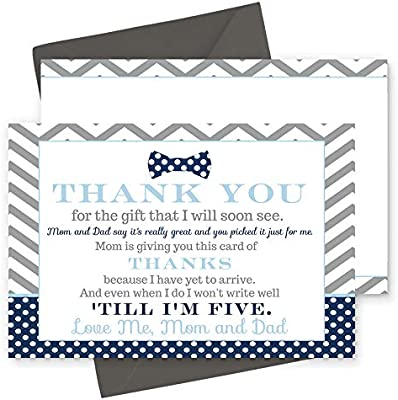 Thank You Letter For Baby Shower.15 Bow Tie Thank You Cards With Grey Envelopes Stationery For Boys Baby Shower Navy And Grey Little Man Party