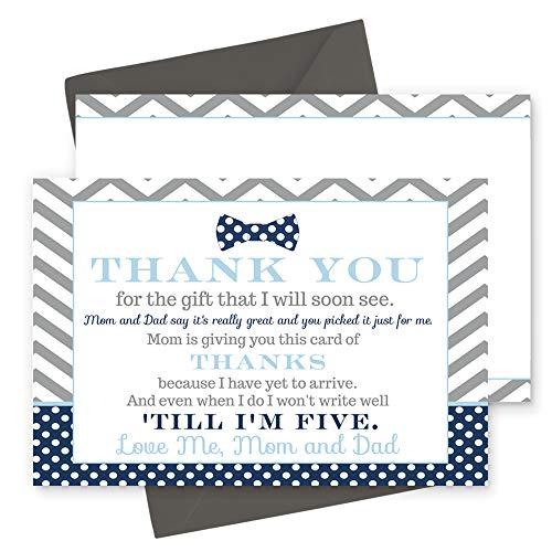 - 15 Bow Tie Thank You Cards with Grey Envelopes Stationery for Boys Baby Shower Navy and Grey Little Man Party