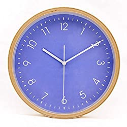 Hippih Silent Wall Clock Wood 8-inches Non Ticking Digital Quiet Sweep Decorative Vintage Wooden Clocks(purple)