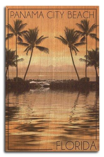 Panama City Beach, Florida - Palms and Orange Sunset (10x15 Wood Wall Sign, Wall Decor Ready to - Beach Time Sunset City Panama