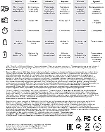 SDMX30-016G-G46K LED Screen and FM Radio SanDisk 16GB Clip Sport Go MP3 Player Black