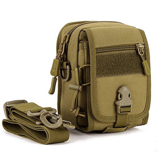 Messagee Multi-function Military Tactical MOLLE Phone Pouch Waist Belt Bag Pack Gear Shoulder Saddlebag Tactical Bag Daypack Shoulder Bag Crossbody For Hunting Camping Trekking (Molls Outfit)