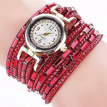 Bellos Relojes, Popular marca reloj mujer Fashion pulsera de cristal vestido de Oro Reloj de