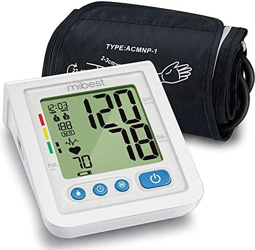 MIBEST Portable Blood Pressure Monitor - BP Cuff Meter with Display - Standard Size Blood Pressure Machine 8.7-12.6