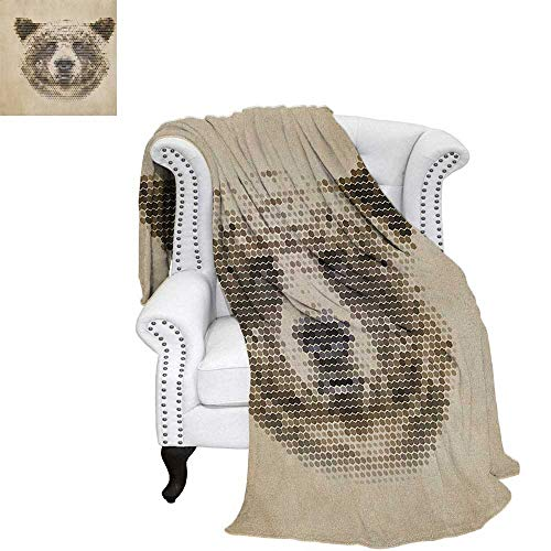 Bear Summer Quilt Comforter Wild Animal Head with Hexagonal Dots Blurry Looking Portrait Vintage Geometric Modern Oversized Travel Throw Cover Blanket 70