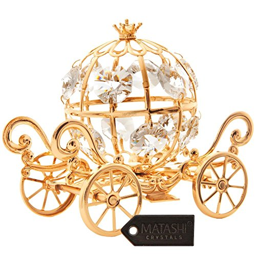 24K Gold Plated Crystal Studded Small Cinderella Pumpkin Coach Ornament by Matashi (Carriage Disney Cinderella)