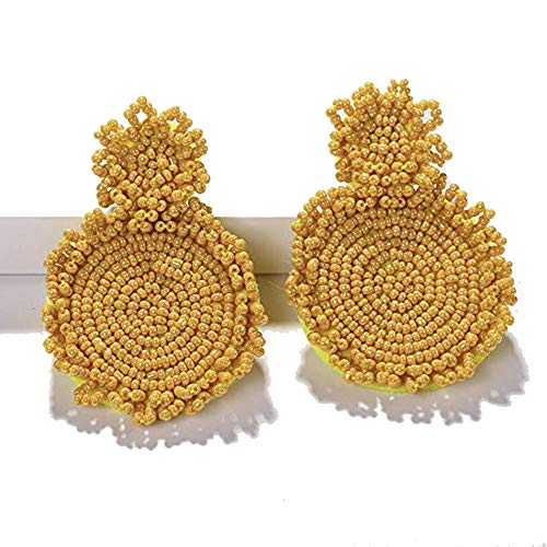 (Statement Drop Earrings - Yellow Bohemian Beaded Round Dangle Earrings Gift for Women)