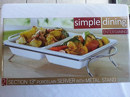 "Simple Dining Entertaining - 2 Section 13"" Porcelain Server with Metal Stand"