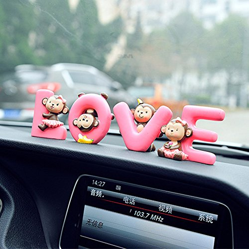 FULL WERK Creative Cute Monkeys Love Dashboard Decorations Car Home Office Ornaments Best Birthday Holiday Gift (LOVE Monkeys)