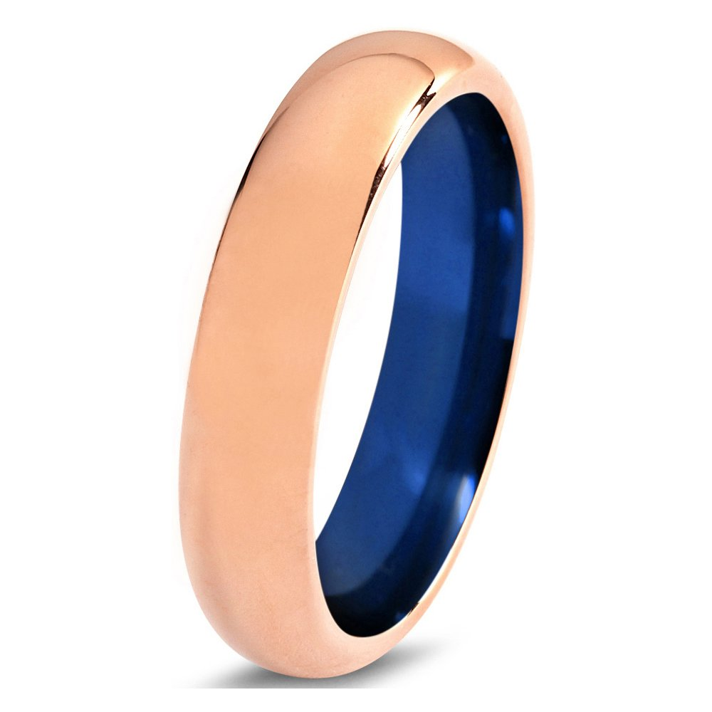 Tungsten Wedding Band Ring 4mm 6mm 8mm for Men Women Blue 18k Rose Gold Domed Polished FREE Custom Laser Engraving Lifetime Guarantee