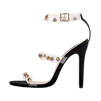 6bec0fed4af3a Onlymaker Women's Ankle Strap Stiletto Open Toe Clear Sandals Rhinestones  Triple Strappy High Heel Party Wending Dress Evening Shoes