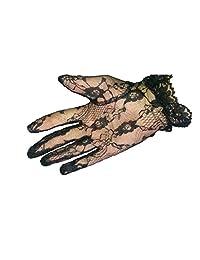 Short Black Lace Lolita Steam Punk Gothic Victorian Flower Gloves