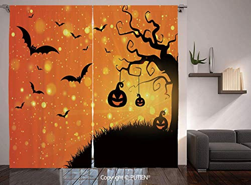 Thermal Insulated Blackout Window Curtain [ Halloween,Magical Fantastic Evil Night Icons Swirled Branches Haunted Forest Hill Decorative,Orange Yellow Black ] for Living Room Bedroom Dorm Room Classro -