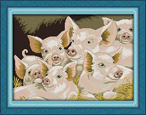 CaptainCrafts New DIY Art Stamped Cross Stitch Kit Pre-Printed Pattern Counted Embroidery Kits - Lovely Pigs (STAMPED)