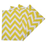 Crabtree Collection Yellow Chevron Table Placemat Set by Top 4-Pack Place Mats from 100% Cotton| Fresh, Trendy Design & Eye-Catching Colors| Dining Table Accessory for Home, Restaurant, Café