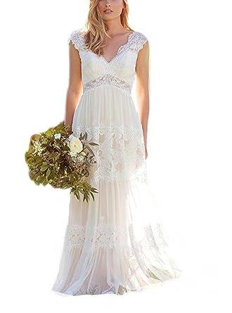 4c7489aa692c9 DreHouse Women's Bohemian Beach Wedding Dresses Lace Bridal Gowns Backless  Vestido De Noivas at Amazon Women's Clothing store:
