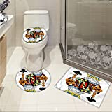 jwchijimwyc King 3 Piece Toilet Cover set King of Clubs Playing Gambling Poker Card Game Leisure Theme without Frame Artwork pattern Multicolor