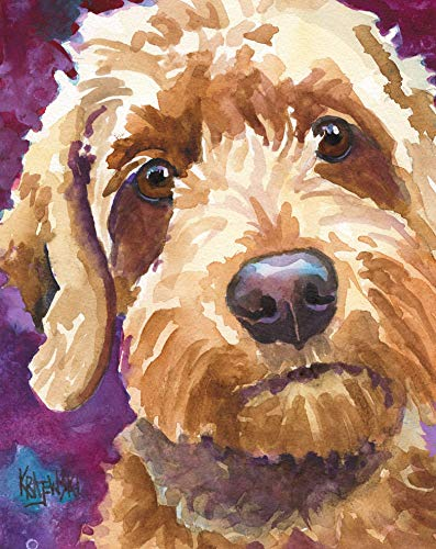Goldendoodle Art Print of Original Watercolor Painting, Golden Doodle Dog Portraits and Gifts by Ron Krajewski ()