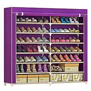 IBEQUEM Meuble à chaussures en tissu non tissé anti-poussière avec 7 niveaux de rangement Armoire à chaussures…