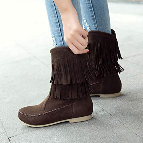 Low Boots Boots Cylinder Retro Tassel Lady Boots FALAIDUO Flat Fashion Brown Flock Women's YU8Swpn