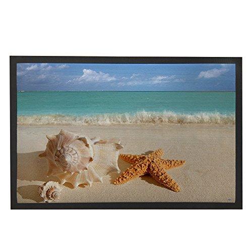 Custom Beach Ocean Theme Sea Life Starfish Seashell Machine-washable Door Mat Indoor/Outdoor Doormat Size 24(L) x 16(W)