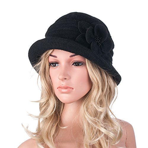 womens-gatsby-1920s-winter-wool-cap-beret-beanie-cloche-bucket-hat-a299-black