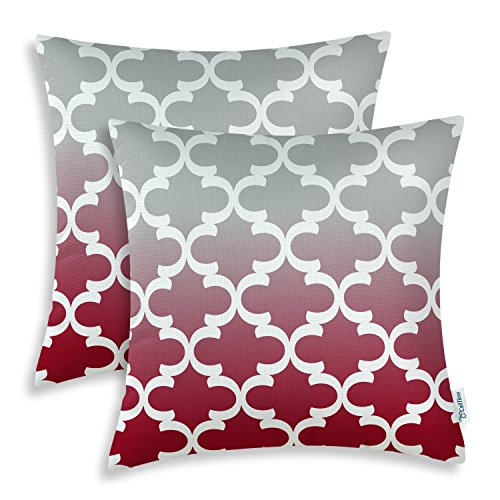 Pack of 2 CaliTime Throw Pillow Covers 18 X 18 Inches, Gradient Quatrefoil Accent Geometric, Gray/Burgundy