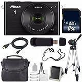 Nikon 1 J4 Mirrorless Digital Camera with 10-30mm Lens (Black) (International Model No Warranty) + 8GB SDHC Memory Card + 6AVE Bundle