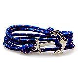 SWEETIE 8 Unisex Men's Women's Silver Nautical Anchor Nylon Rope Bracelet - America Blue offers
