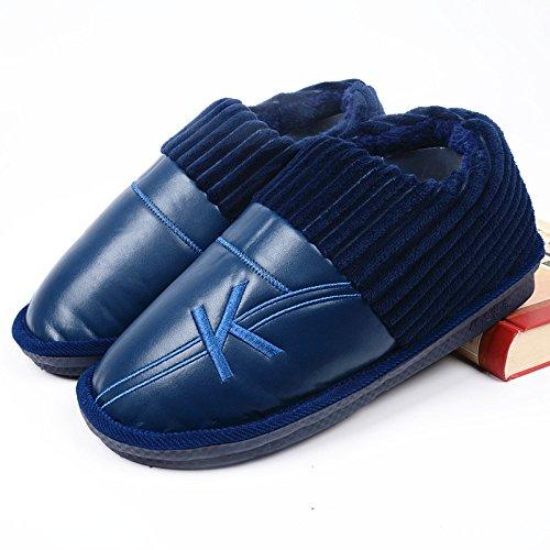 LaxBa Glisser sur l'hiver au chaud en Fausse Fourrure Chaussons neige bordée Chaussures pour hommes Pack avec blue320 yards (47-48 mètres pour les pieds)