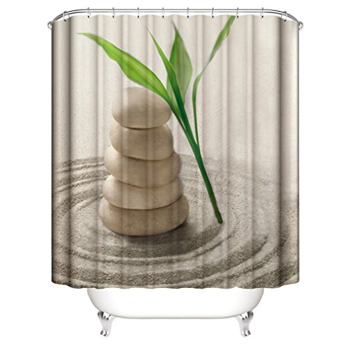 (Spa Decor Bamboo Shower Curtain Fabric by, Zen Stone Garden Rocks Spa Bamboo Fountain Yoga, Fabric Bathroom Decor Set with Hooks - 72×72 Inch)