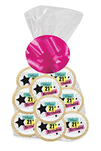 - Happy 21st Birthday Star 24Pack Freshly Baked Individually Wrapped Party Favor M & M Rainbow Cookies