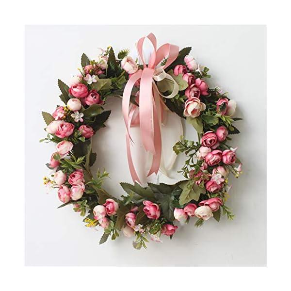 Liveinu Artificial Peony Wreaths for Front Door Flowers Arrangements Wedding Table Centerpieces Wreath Garland for Wall Home Door Garden Office Wedding Decor 12″ Rose Red Door Wreath