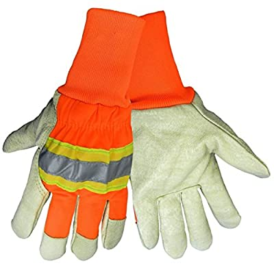 Global Glove 2900HVKW Insulated High-Visibilty Pig Skin Gloves, Cold Keep Insulation, Knit Wrist, Gunn Cut Pigskin, 3M Scotchlite Reflective Material, Hi-Vis Orange/Yellow, 12 Pair, Size: EXTRA LARGE