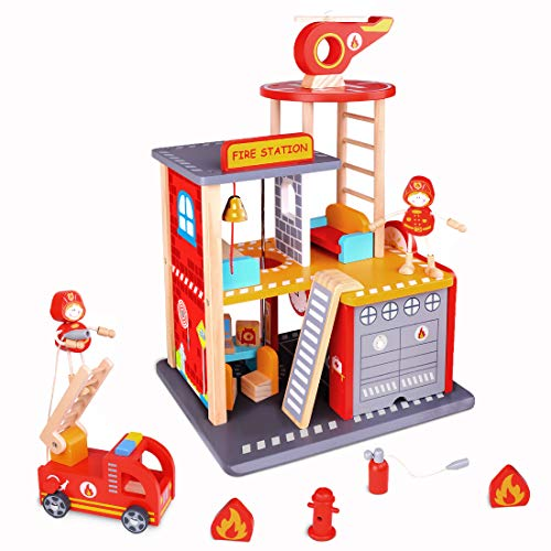USA Toyz Firehouse Playset - 22pc Premium Wooden Fire Station Toy, Fireman Toys w/ Helicopter, Dollhouse Furniture and Fire Truck for Boys and Girls