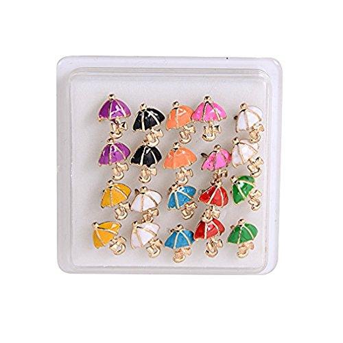 YueLian Crystal Assorted Color Umbrella Stud Earrings Set, 10 Pairs